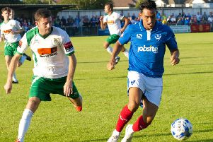 Gary Roberts in action against Bognor. Picture: Tommy McMillan