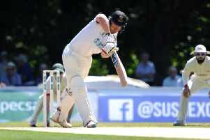 South African Stiaan van Zyl smashed 166 in the second innings of Sussex's four-day game at Arundel Castle. Picture by Steve Robards SR1716104