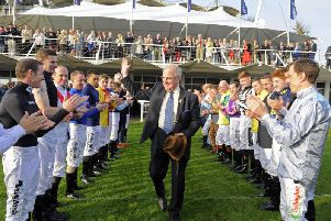 Seamus Buckley takes the acclaim of the jockeys as he bows out at Goodwood / Picture by Malcolm Wells