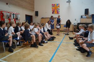 Harting CE Primary pupils with Gillian Keegan MP