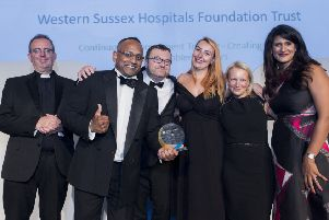 Members of Western Sussex Hospitals NHS Foundation Trust's 'Kaizen team' and colleagues who have put their training into practice collected the accolade from the awards' host, the Rev Richard Cole