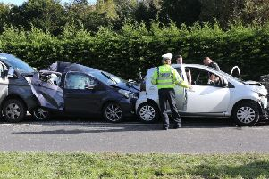 Vehicles involved in the crash on the A29 at Adversane