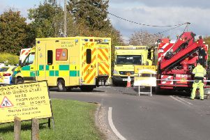 Emergency crews at the scene of the crash