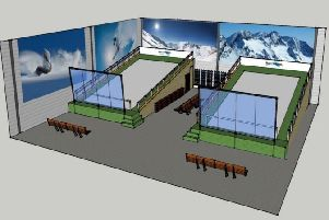 An impression of the proposed new ski and snowboarding centre in Small Dole submitted to Horsham Distric Council's planners