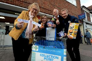 ks180550-1 Mid Food Bank Tescos  phot kate'Launching the Midhurst foodbank initiative at Tesco. from left: Jeanette Sutton, Chrissie and Mike Abbott and manager Dave Woods.ks180550-1 SUS-180511-213525008