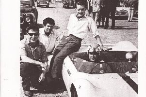 Michael Homer, Tony Cowell, Roger Phillips and Raymond Jackson in the car