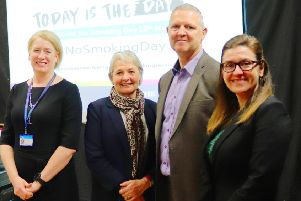 West Sussex County Council Director of Public Health, Anna Raleigh, WSCC Cabinet Member for Adults and Health, Amanda Jupp, Chief Executive of Arun District Council, Nigel Lynn, and Health and Wellbeing Programme Manager Public Health England South East, Karen Simmonds SUS-190313-151035001