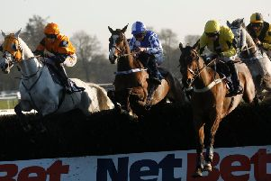 Action from the Millstone Landscapes Charity Prize Handicap Chase, won by Shintori / Picture by Clive Bennett - see more at polopictures.co.uk
