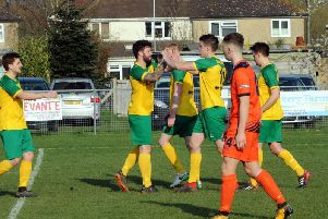 Sidlesham celebrate the game's only goal / Picture by Kate Shemilt