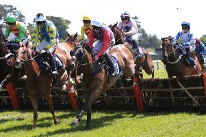 Jump racing action at Fontwell Park