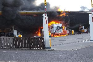 The campervan on fire at Shell petrol station in Fontwell yesterday (May 6)