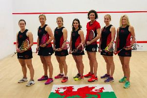Hannah Wright-Davies, second from left, with the rest of the Wales team