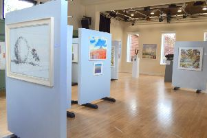 Some of the donated artwork on display