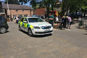 A number of emergency vehicles could been seen