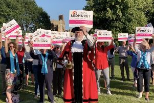 A hundred-strong flashmob to create the Midhurst Vision logo on the Midhurst Sports Association playing fields
