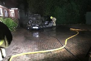 The car was 'destroyed' by the fire. Photo by Billingshurst Fire Station