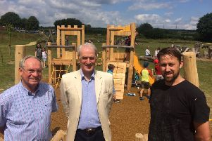 Ian Milne, Cllr Francis Hobbs, Chris Collyer. Easebourne play area 02-08-19
