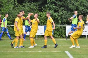 Selsey celebrate a goal at Roffey / Picture by Ed Warren
