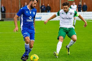 Bognor skipper Harvey Whyte tracks his man at Bishop's Stortford / Picture by Tommy McMillan