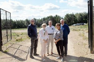 ks190488-4 K7 Development  phot kate'Concerned residents James Brown, Roisin Hines, John Hines, Jan Brown and Ian Milne in front of the Kings Green East development site. ks190488-4 SUS-190209-194643008