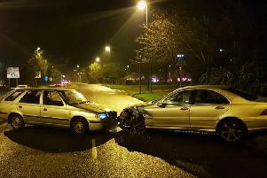Four people  a man, a woman and two children  were injured after thecollisionin Oaklands Way on December 27, 2018.Photo: Sussex Police