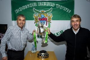 Bognor's famous Pullen twins with the Sussex Senior Cup, which the club won last season / Picture by Tommy McMillan