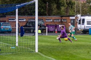 Josh Clack scores one of his two goals in the defeat at Barton / Picture: Daniel Harker