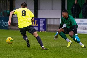 Ben Ward-Cochrane about to round Myles Roberts for Potters Bar's first goal on a dreadful day for the Rocks / Picture by Tommy McMillan
