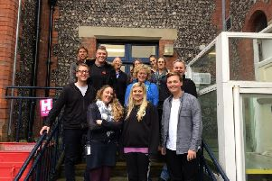 The new volunteers on steps at HM Prison Lewes