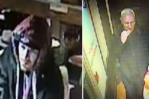 Police have released CCTV images of two men suspected of stealing Poppy Appeal donation boxes from Sussex businesses