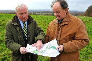 Peter Sutton and Pete Bradbury, of the steering committee, at the site of the new school