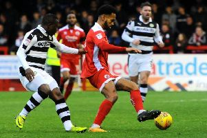 Jordan Roberts in action against Forest Green