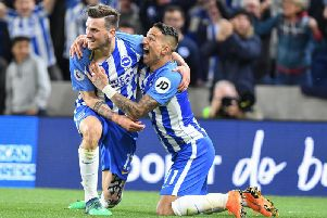 Pascal Gross celebrates scoring the winner against Manchester United last season. Picture by PW Sporting Photography