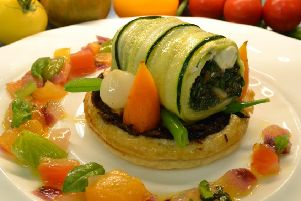 Summer on a plate: Courgette and spinach roulade with goat's cheese tart and tomato relish