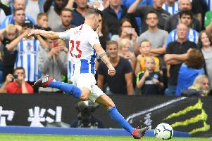 German midfielder Pascal Gross fires his penalty home against Manchester United. Picture by Phil Westlake (PW Sporting Photography)
