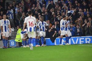 Brighton celebrate Glenn Murray's opener against West Ham. Picture by Phil Westlake (PW Sporting Photography)