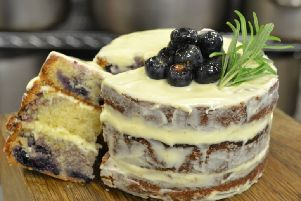 Semi-nude blueberry and elderflower layered cake