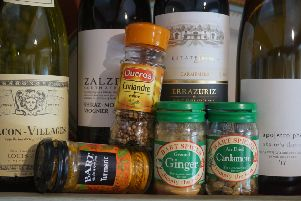 A selection of wines and spices for Curry Week