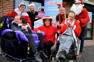 Natasha Kaplinsky (centre) at the Bevern View, in Barcombe, as part of events to promote the second Lewes Santa Run. Photograph and video Steve Robards (SR1829470)