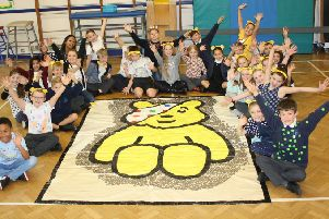 Year four children from Rowling Class, with Pudsey.