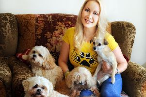 K-9 Angels co-founder Victoria Featherstone Pearce from Pulborough with some of her rescue dogs