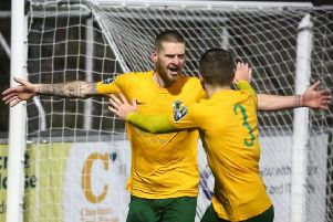 Rob O'Toole delivered the Horsham fans an early Christmas present with a hat-trick in their 4-2 victory over league leaders Cray Wanderers. Picture by John Lines
