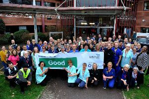 Princess Royal Hospital staff display banner showing their Good CQC rating, Haywards Heath. Pic Steve Robards