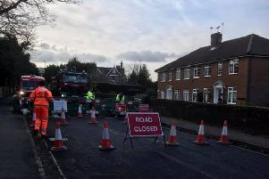New England Road in Haywards Heath was closed off both ways on Wednesday (January 9), due to a burst water main