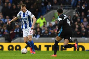 Brighton & Hove Albion defender Dan Burn made his debut for the Seagulls in their fourth round FA Cup tie at home to West Bromwich Albion. All pictures by PW Sporting Photography.