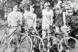 Bikers back in the 80s raise hospital funds wearing their Colwell Radio tee-shirts