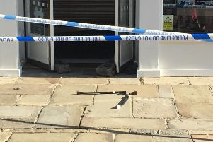 Crowbars outside the shop on Friday (August 24)