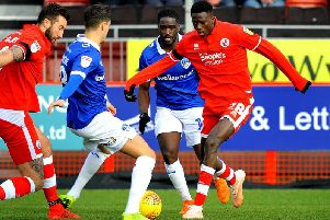 Crawley Town forward Panutche Camara in action against Oldham on Saturday. Picture by PW Sporting Photography