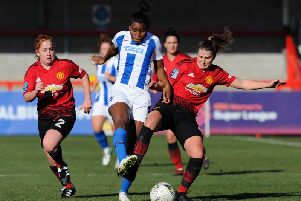 Brighton & Hove Albion's Ini Umotong (in action against Manchester United in the fourth-round of the SSE Women's FA Cup) scored the winner in their 2-0 win over Liverpool in the FA Women's Super League. Picture by Alex Burstow/Getty Images.