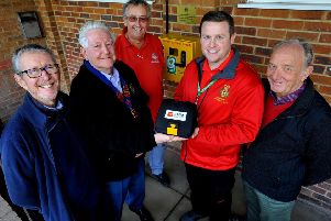 Defibrillator unveiling at Keymer and Hassocks Sports Social Club.'Bill Hatton (Hassocks parish councillor), John Gee (President Burgess Hill district Lions),  David Price (Chairman of Keymer and Hassocks Sports Social Club),  Russell Spencer (Community First Responder), Derek Jenner (President of Keymer and Hassocks Sports Social Club). Pic Steve Robards SR1903846 SUS-190213-165941001